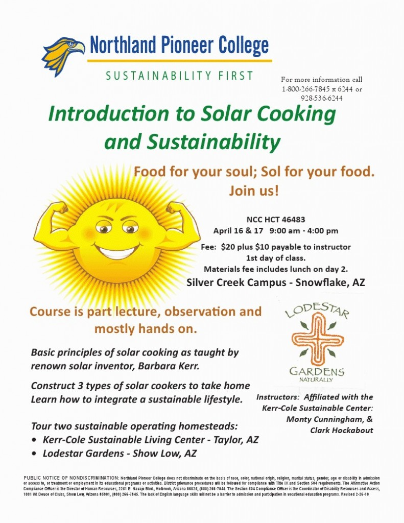 Solar Cooking Course Flier